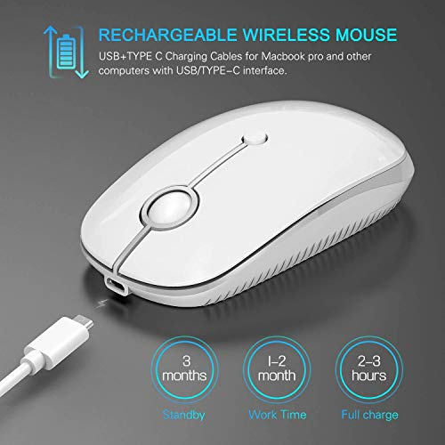 JellyCombワイヤレスマウス2台同時接続充電式type-C/USBレシーバー付き静音新型2.4GHz無線マウス2400DPI高精度3DPIモード省エネモード持ち運び便利PC/Laptop/MacBookpro/MacBookair/iMacに対応(シルバー)
