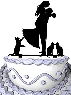Meijiafei Groom Hold Bride with 3 Cat Wedding Party Acryilc Cake Topper