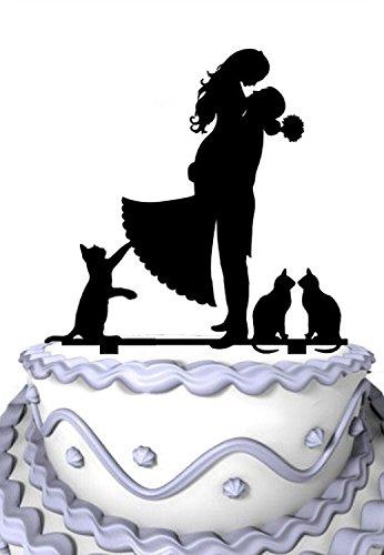 Meijiafei Bräutigam Hold Braut mit 3 Katzen Hochzeitsparty Acryl Tortenaufsatz