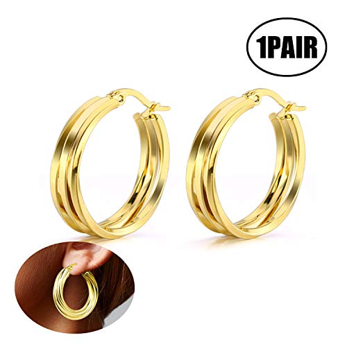 Xhuan Pendiente Aro Acero Inoxidable Pendientes Mujer Pendientes Circulo(Oro)