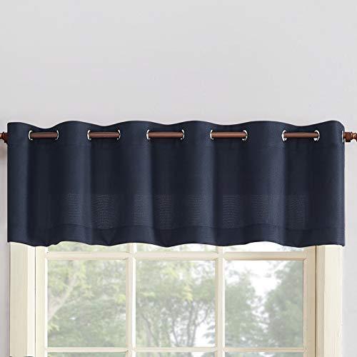"""No. 918 Montego Grommet Textured Kitchen Curtain Valance, 56"""" x 14"""", Navy Blue"""