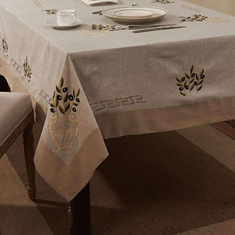 ZYT Beige Linen   Cotton Blend Rectangular Table Cloths