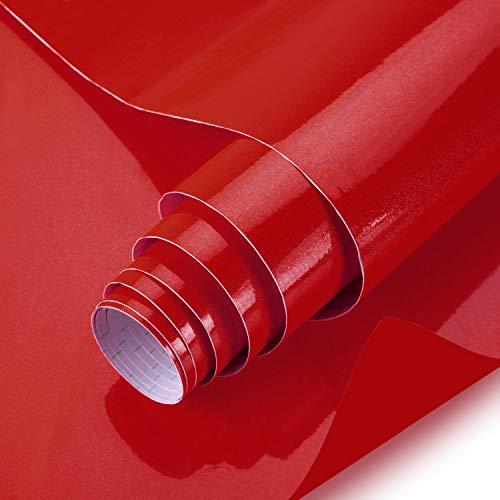 iKINLO Selbstklebende Klebefolie für Möbel aus PVC 61X500CM Möbelfolie Küchenschrankaufkleber mit Glitzer Effect Dekofolie ohne Geruch Wasserfest Tapeten für Schrank Küche Hausrat Rot