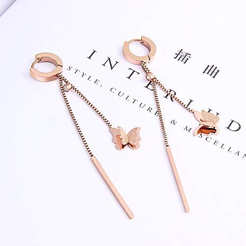 Nieuwe Koreaanse versie van de hete verkoop mode vlinder rivier suer oorbel rose goud titanium staal oor gesp trend vlinder oor spijkers groothandel