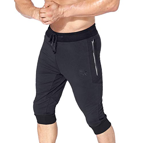 BROKIG Mens 3/4 Workout Pants, Sidelock Gym Joggers Capri Cotton Shorts with Zipper Pockets