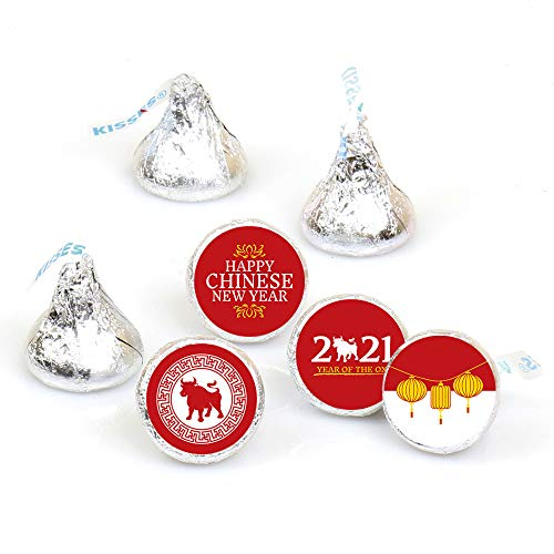 Big Dot of Happiness Chinese New Year - 2021 Year of the Ox Party Round Candy Sticker Favors - Labels Fit Hershey