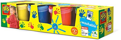 SES SES-305 Creative Washable Finger Paints (Pack of 4), Multicolor (00305)