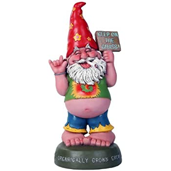 Pacific Giftware Hippie Gnome Pot Smoking Keep On Grass Garden Gnome Statue 10H