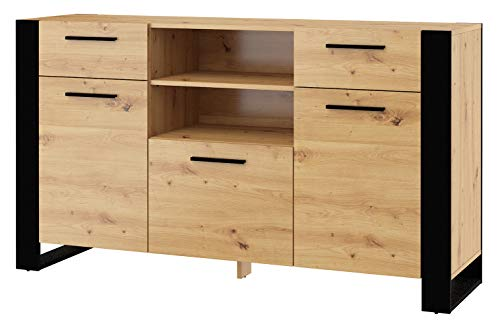 BIM Furniture Cómoda Nuka C, 155 cm, aparador, armario alto, armario negro, roble artesanal