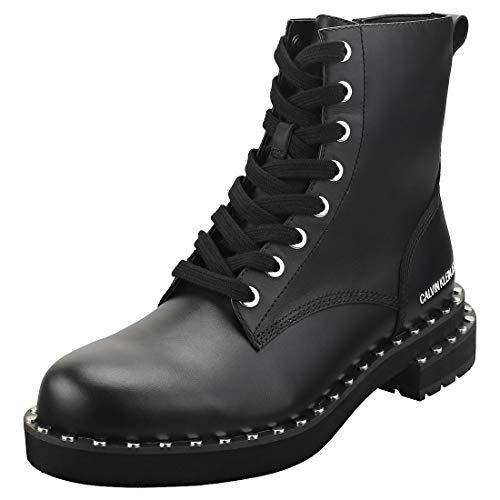 Zapatos de Mujer Bota Militar Nannie Piel Negra Calvin Klein FW 19-20