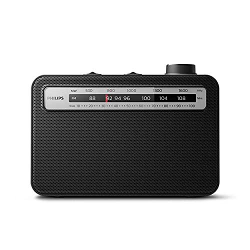 Philips Radio clásica, Radio portátil FM/MW analógica UKW/MW, Radio para Llevar, Funciona con Electricidad o Pilas, para Interiores y Exteriores, diseño clásico en Negro 210mmx149mmx66,3 mm