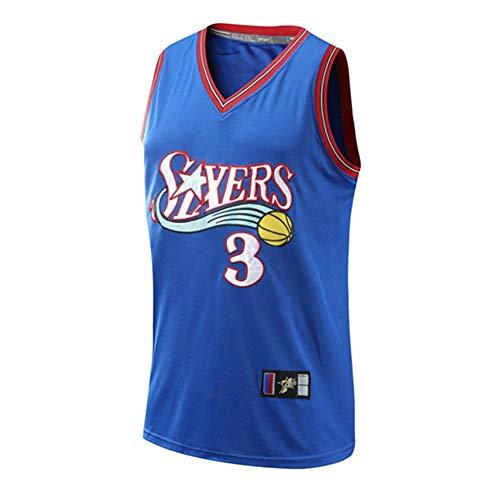 Basketball Jersey #3 Allen Iverson Camiseta de Jugador de Baloncesto para Hombres, Camiseta fanáticos, Chaleco Transpirable Deportivas de Jersey Swingman,3 Blue,M