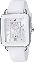 in budget affordable MICHELE Ladies Watch, Swiss Quartz, Stainless Steel, with Rubber Strap, White, 18 (Model:…