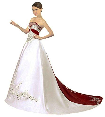 Vantexi Damen Trägerloses Wulstige Stickerei Hochzeitskleid Brautkleider Elfenbein Burgund 38