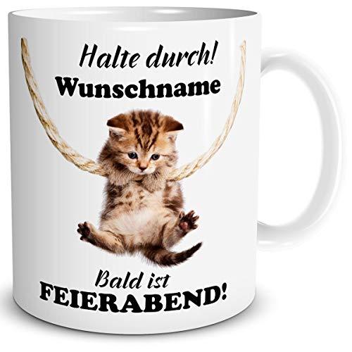TRIOSK Tasse Katze lustig Spruch mit Namen personalisiert Halte Durch Geschenk für Arbeit Büro Katzenfreunde Frauen Freundin