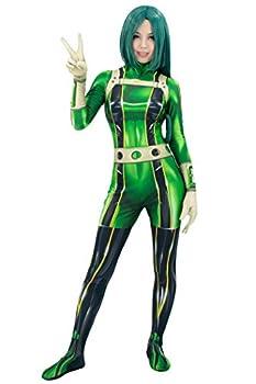 C-ZOFEK Asui Tsuyu Froppy Cosplay Costume Green Bodysuit Jumpsuit  XX-Large