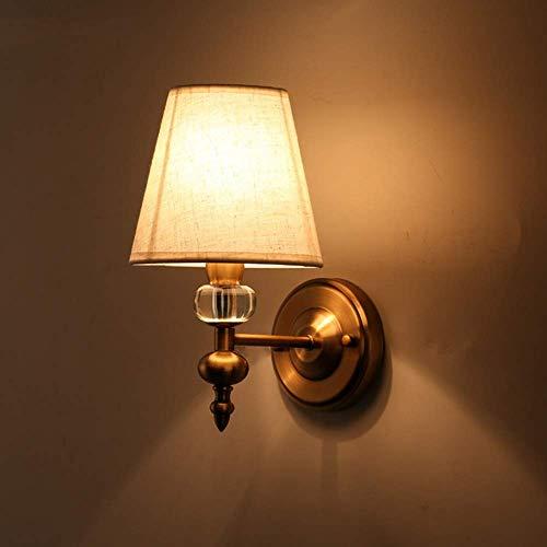 YANQING Duurzame Amerikaanse Country Wandlamp Beige Stof Metalen Enkele Hoofd Bed Lamp Verlichting 3-8 Vierkante Meter Slaapkamer Eetzaal Corridor Woonkamer Showroom