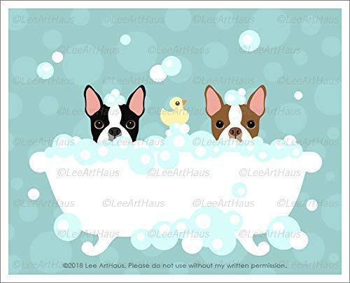 Amazon Com 563d Two Boston Terrier Dogs Peeking In Bubble Bath Bathtub Unframed Wall Art Print By Lee Arthaus Handmade