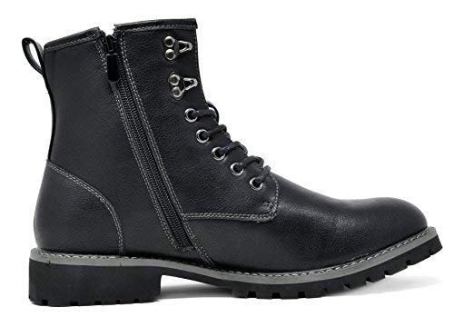 Bruno Marc Men's Stone-01 Black Motorcycle Combat Dress Oxford Boots Size 11 M US