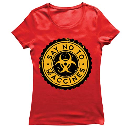 lepni.me Camiseta Mujer Di no a Las Vacunas Lema de Seguridad contra la Vacunación Obligatoria