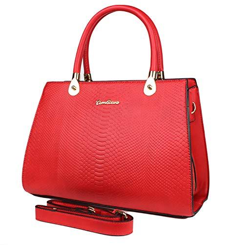 Tom & Eva Damen Tasche - Vintage Kroko Henkeltasche aus Kunstleder, Rot Handtasche