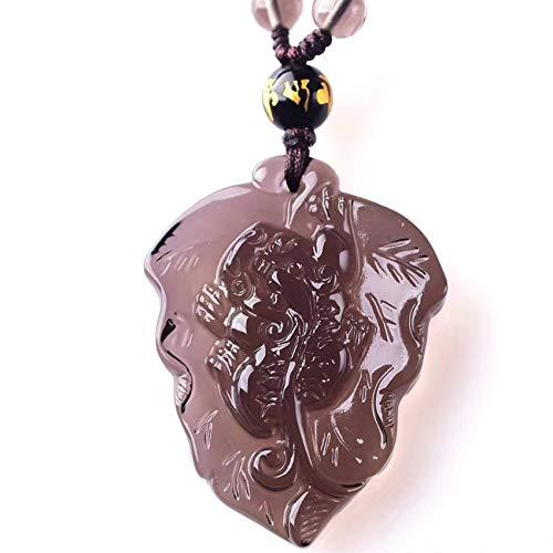 JIACUO Natural, Feng Shui Helado Natural Obsidiana Colgante Forma de Hoja Tallada Pixiu/Pi Yao Adornos Collar de Cuentas de Mantra de Seis Caracteres Ganar Dinero Suerte Riqueza, Glac
