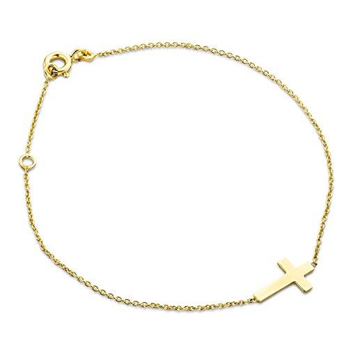 Miore Damen Gelbgold Kreuz Armband 9KT (375) von 18 cm