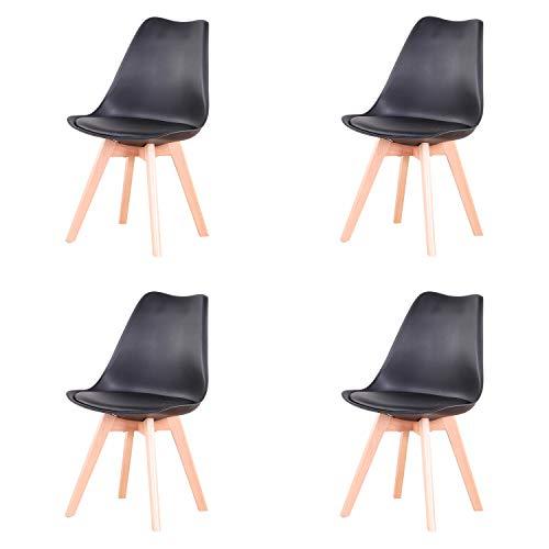 N / A 4er Set Stühle, Esszimmerstuhl, Tulpenstuhl im nordischen Stil, geeignet für Wohnzimmer, Esszimmer (Schwarz)