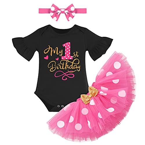 Recién Nacida Bebé Niñas Primer Cumpleaños Trajes Conjuntos Manga Corta Mameluco+Tutú de Tul de Lunares de Minnie+Diadema 3 Piezas Vestido de Fiesta de Princesa Elegante Negro+Rosa Fuerte 1 Año