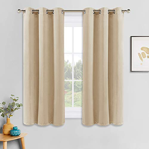 PONY DANCE Room Darkening Drapes - Light Blocking Kitchen Curtains Drapes Thermal Insulated Home Decor for Nursery, Privacy Protect Draperies, 42 x 45 inch, Biscotti Beige, 2 Pieces