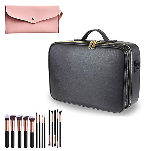 """Makeup Case Travel - Large Makeup Bag 15.7"""" Professional Makeup Train Case with Adjustable Strap, Leather Makeup Artist Box for Hair Curler Hair Straightener Brush Set and Cosmetics (Classic Black)"""