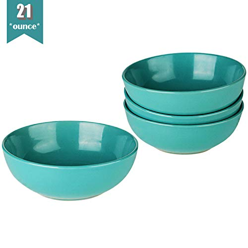 CeramicHome Porcelain Soup/Cereal Bowls with Anti-slip Pattern (21oz, 4-Piece), Stoneware Teal Blue Rice Bowl Set for 4