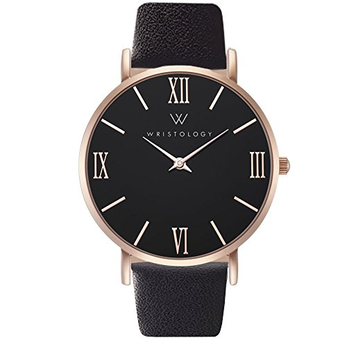 WRISTOLOGY Stella - 2 Options - Womens Watch Rose Gold Black Face Roman Numeral Numbers Boyfriend Ladies Black Leather Strap Band