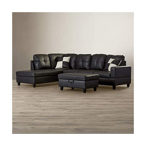 LifeStyle 3PC Black Sectional Sofa Set 2