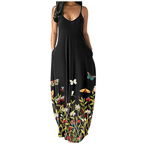 Yue668 - Vestido largo para mujer, cuello redondo, informal, estampado floral, diseño de mariposa,...