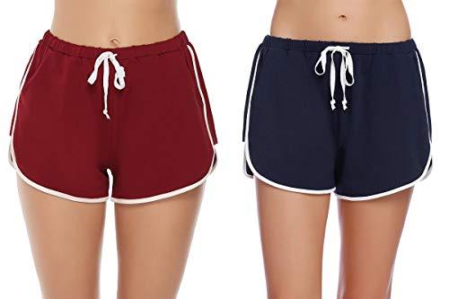 Abollria Pantalones Cortos de Pijama para Mujer Cintura Elástica Ajustable y Bolsillo Verano Shorts (M, Azul Marino/Vino Tinto)