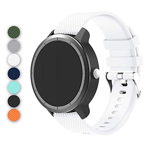 Anrir Vivoactive 3 Watch Band, 20mm Silicone Bands for Garmin Vivoactive 3/Forerunner 645 Music/Samsung Galaxy 42mm/Galaxy Watch 3 41mm/Galaxy Watch Active 2 40mm/44mm-White
