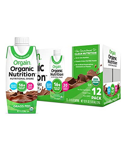 Orgain Organic Nutritional Shake, Creamy Chocolate Fudge - Meal Replacement, 16g Protein, 20 Vitamins & Minerals, Gluten Free, Soy Free, Kosher, Non-GMO, 11 Ounce, 12 Count (Packaging May Vary)