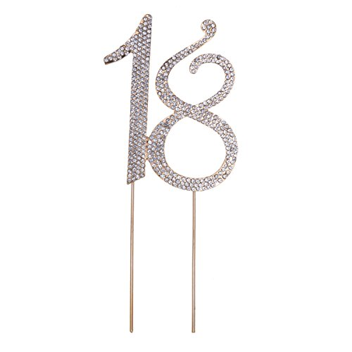 STOBOK Kuchen Topper Strass 18 Zahl Kuchendeckel Kuchendekoration für Erwachsene Zeremonie Jahrestag Geburtstag Party Zubehör (Golden)