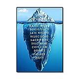 LaJiTong Decoracion Pared Cuadro Póster de Lienzo Paisaje impresión nórdica Cuadro de Pared Lienzo Motivacional Arte de Pared Iceberg of Success Moderno 60x90cm
