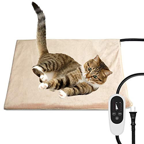 NICREW Pet Heating Pad with Auto Shut Off, Electric Pet Heated Bed Mat for Cats and Dogs, Temperature Adjustable, MET Safety Listed, 17.7 x 15.7 Inches, 55W (max)
