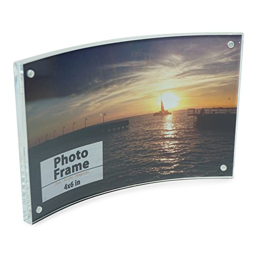 Crystal Clear Memories Curved Acrylic Magnet Frame (4x6), Clear Acrylic Picture Frame for Home and Office