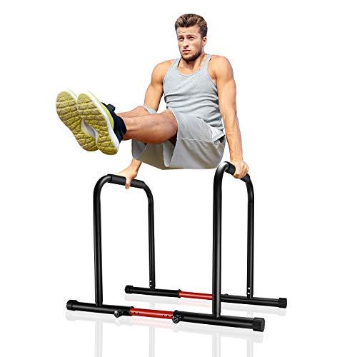 Surwit Dip Barren tragbare Dip Station Fitness Bar, Workout Pull Up Dip Stand, verstellbare Körperpresse Bar Stabilisator Parallette Push Up für Heim-Gym Training Calisthenics Ausrüstung