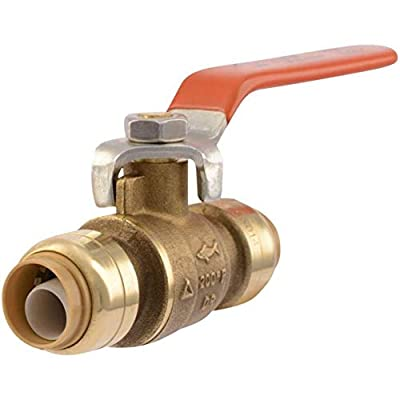 SharkBite 22222-0000LFA Ball Valve 1/2 Inch x 1/2 Inch, Water Valve Shut Off, Push-to-Connect, PEX, Copper, CPVC, PE-RT by Cash Acme