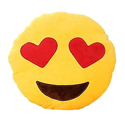 "Katherine Shops APP Emoji Smiley Emoticon Yellow Round Cushion Pillow Stuffed Plush Soft Toy 13.8"" (Heart-eye)"