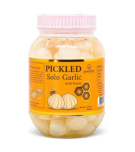 Homtiem Pickled Solo Garlic with Honey 7.04 Oz (200g.), Non-Additives, Non-Preservatives, for Appetizers Healthy, Healthy Recipes, salads and antipasto