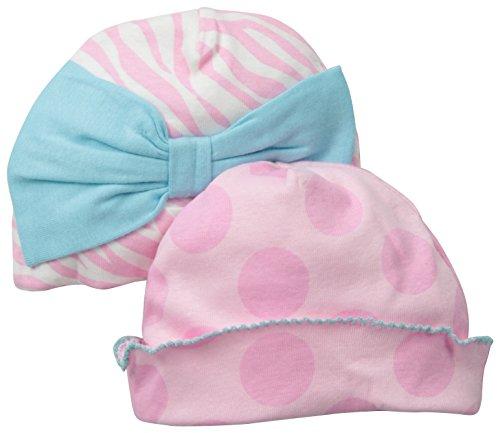 Gerber Baby-Girls Newborn 2 Pack Girl Novelty Caps-Bow, Pink, 0-6 Months