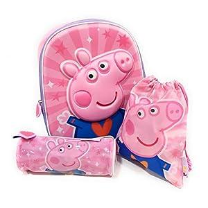 41wanRduuuL. SS300  - Mochila Peppa Pig 3D Infantil para niñas (31 cms) + Estuche Peppa Pig Portatodo + Bolsa Peppa Pig para Merienda