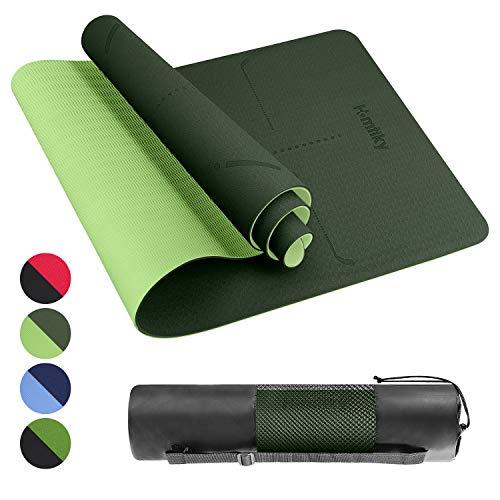 Homtiky Esterilla Yoga Colchoneta de Yoga Antideslizante con Material ecológico TPE con líneas corporales Yoga Mat diseñado para Entrenamiento y Entrenamiento físico,Verde Oscuro