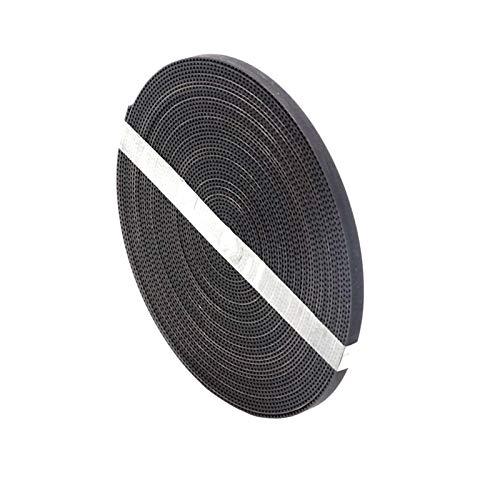 Zyilei-Correas de distribución 10 metros (33ft) GT2 Cinturón de tiempo abierto de fibra de goma GT2, tono de 2 mm, ancho de 6 mm, ajuste para la impresión 3D correa negra Duradero y resistente al desg